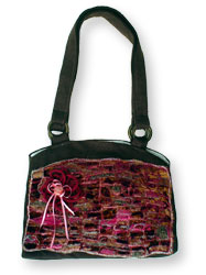 Hand Bag With Brickwork Pattern Design.