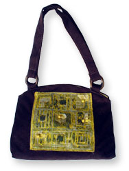 Hand Bag With Squares Pattern Design.