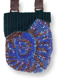 Hooked Textile Ammonite Shoulder Bag Blue.