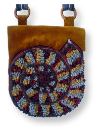 Hooked Textile Ammonite Shoulder Bag Maroon.