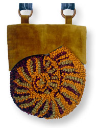 Hooked Textile Ammonite Shoulder Bag Orange.