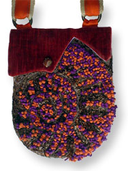 Hooked Textile Ammonite Shoulder Bag Purple.