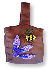 Hooked Textile Bee Evening Bag Brown.