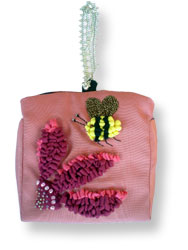 Hooked Textile Bee Evening Bag Pink.