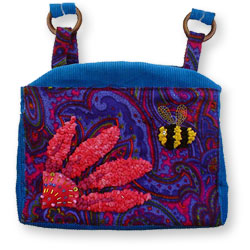 Hooked Textile Bee Shoulder Bag Corded Blue.