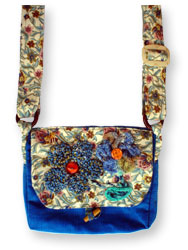 Hooked Textile Bee Shoulder Bag Floral Blue.