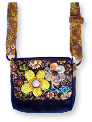 Hooked Textile Bee Shoulder Bag Floral Brown.