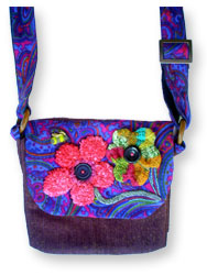 Hooked Textile Bee Shoulder Bag Floral Pink.