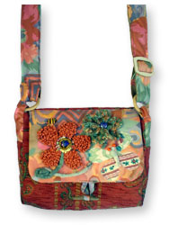 Hooked Textile Bee Shoulder Bag Floral Rust.