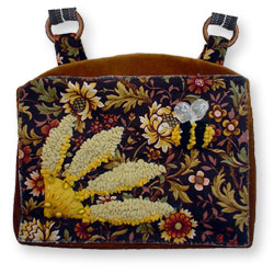 Hooked Textile Bee Shoulder Bag Mustard.