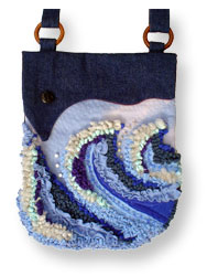 Hooked Textile Wave Shoulder Bag Blue.