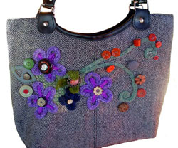 Shop Bought Bag Given New Lease Of Life With Corking, Flowers & Buttons.