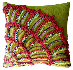 Hooked Textile Ammonite Bead Cushion.