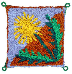 Hooked Textile Dandilion Cushion Design 2.