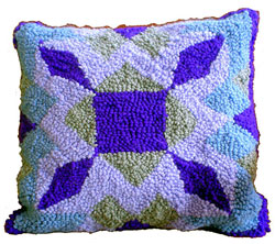 Hooked Textile Diamonds Cushion.