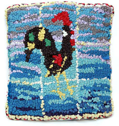 Hooked Textile Portugese Chicken Cushion.
