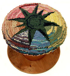 Hooked Rug Drum Seat Titled Gaudi Star.