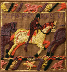 Hooked Rug Wall Hanging Titled After Bayeux.