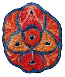 Hooked Rug Wall Hanging Titled Complementary Colour.