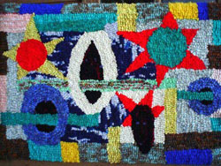 Hooked Rug Wall Hanging Titled Fifties.
