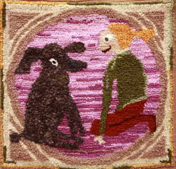 Hooked Rug Wall Hanging Titled Friends.