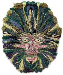 Hooked Rug Wall Hanging Titled Green Man.