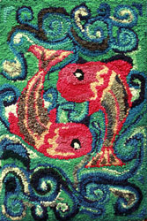 Hooked Rug Wall Hanging Titled Pisces.