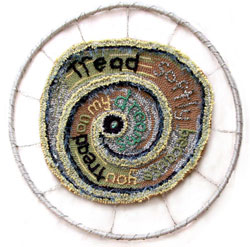 Hooked Rug Wall Hanging Titled Tread Softly.